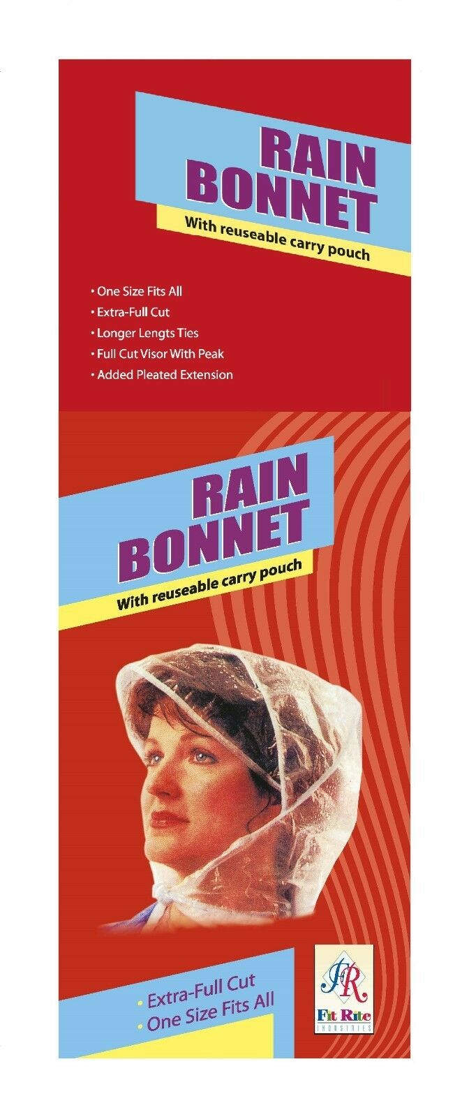 Black Fit Rite Womens Rain Bonnet with Full Cut Visor /& Netting 2 Pack One Size Fits All