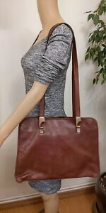 Vintage-Vera-Pelle-Large-Brown-Leather-Shouder-Bag-Three-Compartments-Made-Italy