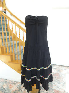 3ee07458091 Image is loading NWT-XOXO-Collection-black-tube-dress-embroidered-trim-