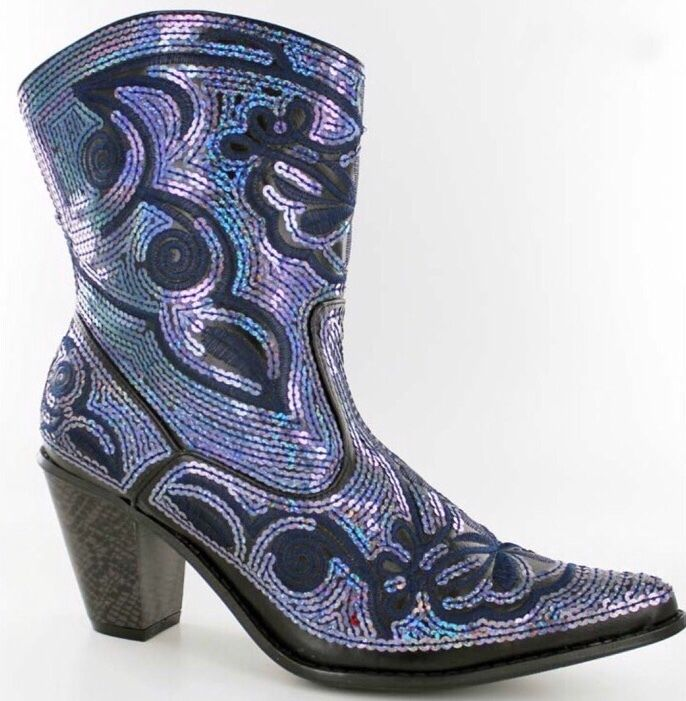New Helens Heart Short Navy Bling Sequin Western Boots Size 6, 7, 8, 9, 10, 11