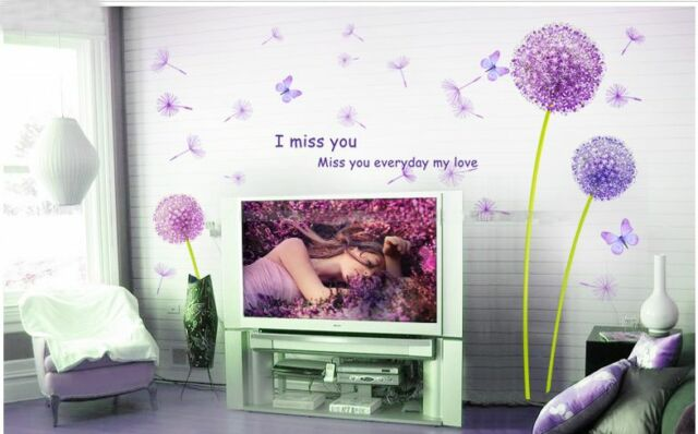 DIY Home Decor Art Vinyl Removable Wall Stickers Purple Dandelion Mural Decal GG