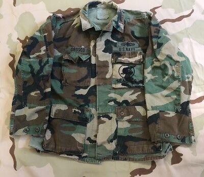 Woodland Camo BDU Style SHIRT Military Veteran Army Navy Seabees Hunting XS-5X