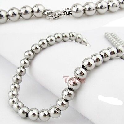 "6MM/8MM Silver Round Ball Beads Mens Necklace Chain 8""-30"" Stainless Steel"