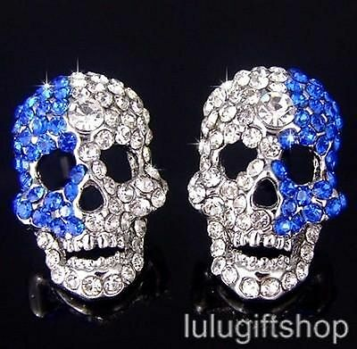 18K WHITE GOLD PLATED BLUE AND WHITE SKULL STUD EARRINGS USE SWAROVSKI CRYSTALS