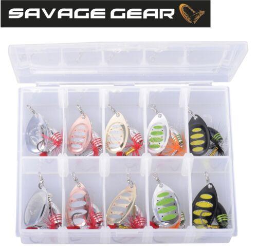 10 Köder zum Raubfischangeln 5,5g Savage Gear Rotex Spinner Set 4g