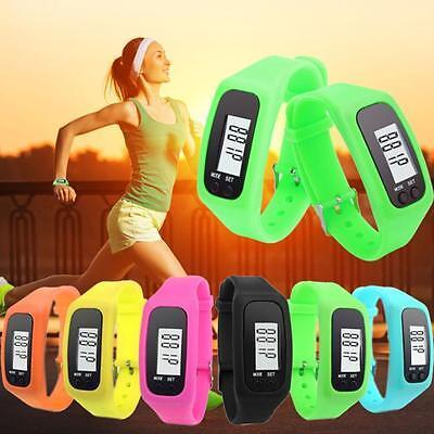 Mens Digital LCD Pedometer Run Step Walking Distance Calorie Counter Wrist Watch