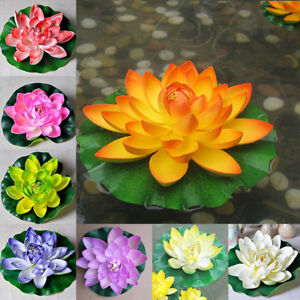 18cm Artificial Lotus Floating Water Lily Flowers Plants Home Decors