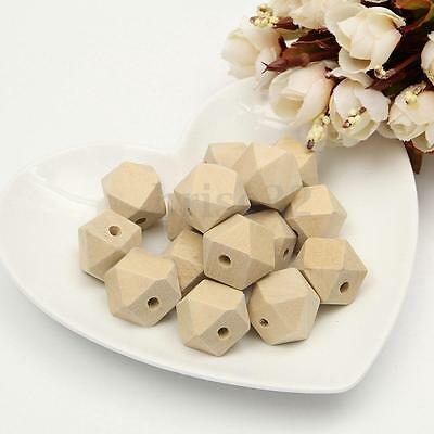 15/30Pcs Geometric Wood Bead Unfinished Natural Wooden Necklace Craft Punk 18mm
