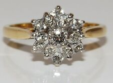AN 18CT  YELLOW  GOLD 0.3CT DIAMOND SNOW FLAKE CLUSTER ENGAGEMENT  BAND RING