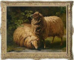 Old-Master-Art-Antique-Oil-Painting-animal-Portrait-sheep-on-canvas-30-034-x40-034