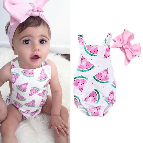 Baby Girls Kids 2Pcs Outfit Set Floral Princess Cotton Romper Bodysuit Headband