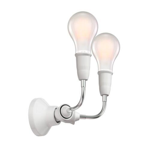 inkl 2 E27 LED L Wand-Leuchte Elektra mit Schwanenhals zweiflammig Porzellan