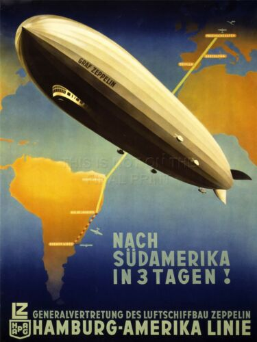 ART PRINT ADVERT TRAVEL TOURISM AIRSHIP ZEPPELIN GERMANY SOUTH AMERICA NOFL0513