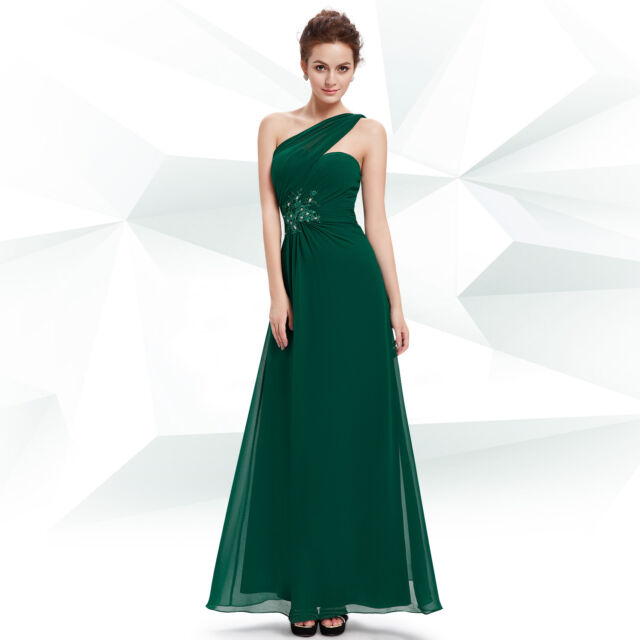 Green Sexy One Shoulder Long Evening Formal Cocktail Club Dress 08540