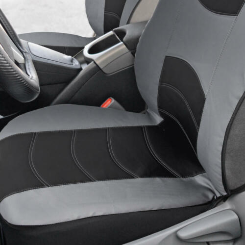 Black//Gray PU Leather Car Seat /& Carbon Fiber Steering Wheel Cover