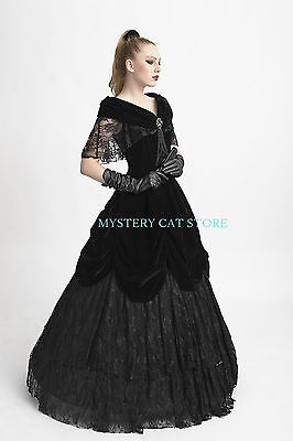 New PUNK RAVE Gothic Victorian Court Ball Prom Black Dress Q-273 ALL STOCK IN AU