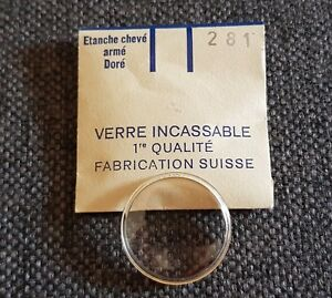 Verre-de-montre-suisse-arme-bague-plexi-diametre-281-Watch-crystal-vintage-NOS