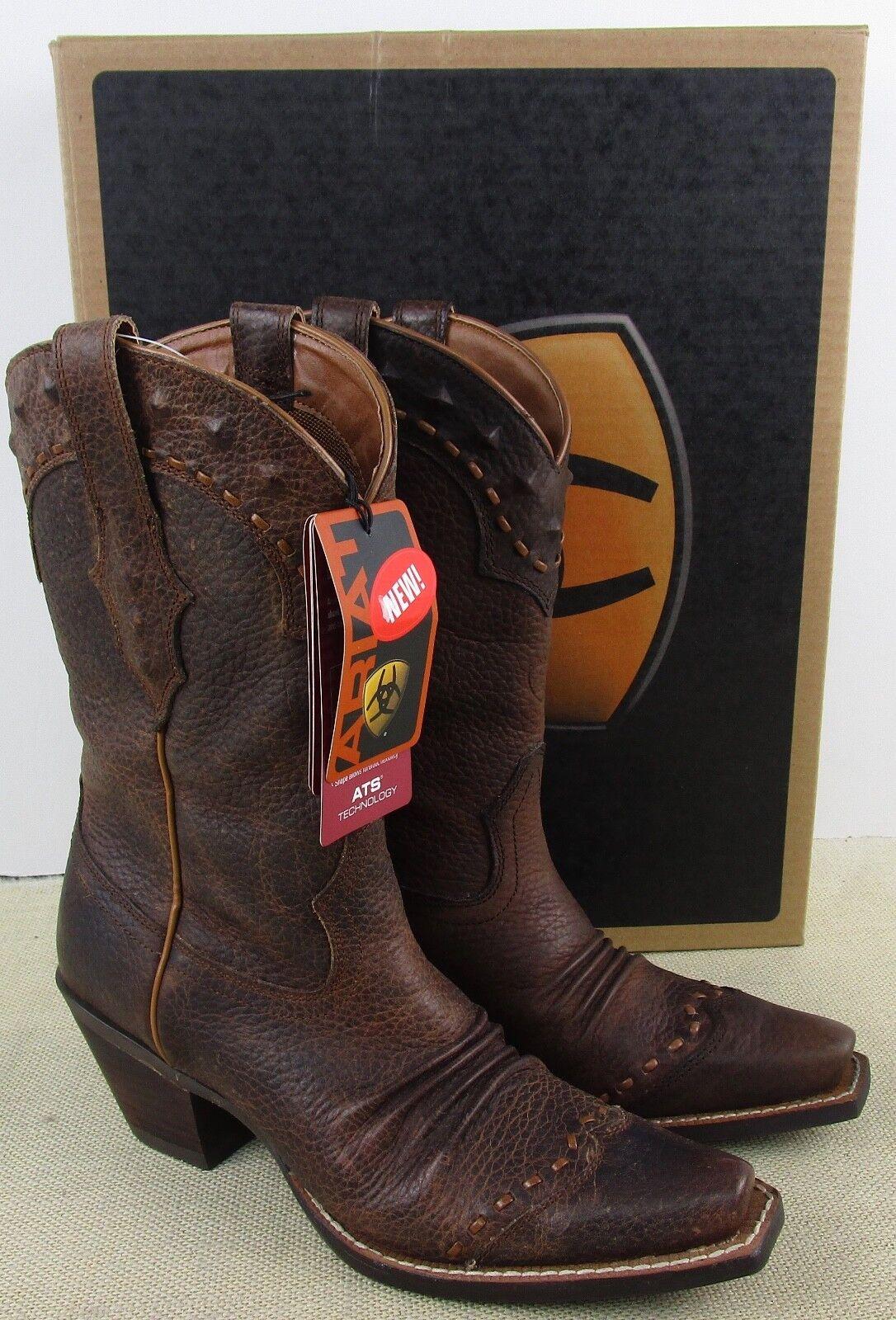 Ariat 10001368 Dixie MUJER Cuero Marrón botas Cowboy Nuevo en Caja