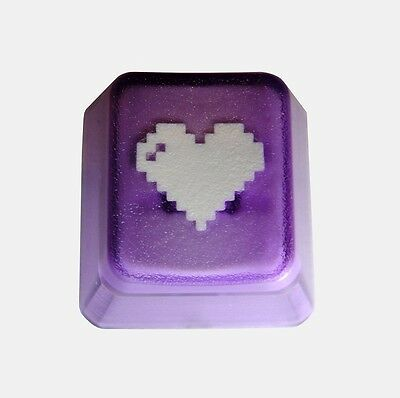 Translucent Purple 8-bit Heart Novelty Doubleshot Cherry MX Keycaps / Key cap