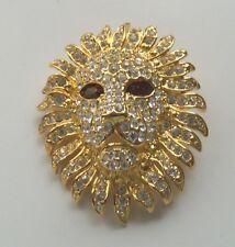 KJL KENNETH JAY LANE BOOK PIECE GOLDTONE CRYSTAL LIONHEAD PIN BROOCH ENHANCER