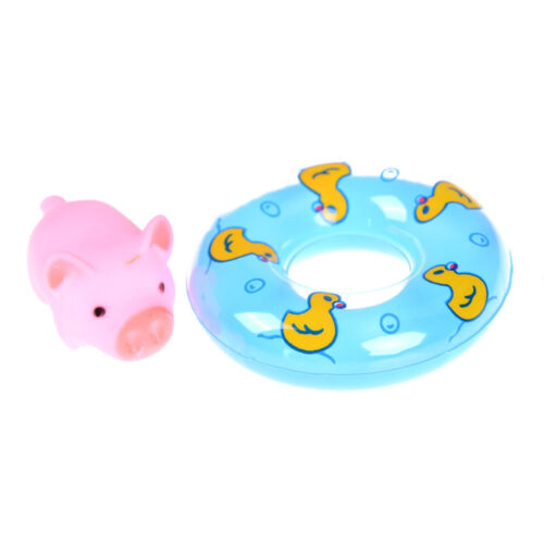 2pcs Swimming Ring 1pc Pig Rubber Floating Swimming Water Squeeze Bathing Toy Bn