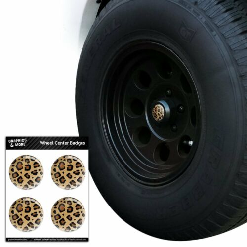 Leopard Print Animal Spots Tire Wheel Center Cap Resin-Topped Badges Stickers