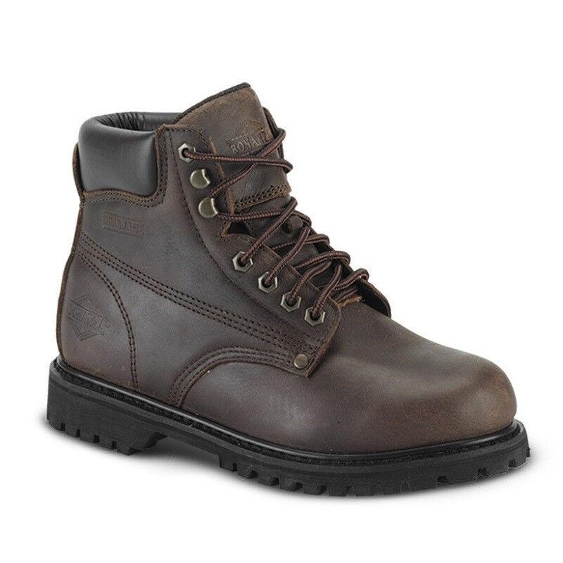 da743076 Nuevo hombres Cuero Marrón 6 Llano Toe botas Trabajo Puntera De Acero  BAT-610 (D, M) De Para ntzekj1445-Botas