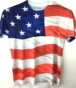 Get-A-Life-T-Shirt-Mens-Sz-XL-American-Flag-USA-Independence-Day-4th-July-Light