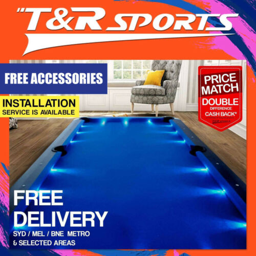 8FT BLUE TIMBER MDF POOL SNOOKER BILLIARD TABLE LED