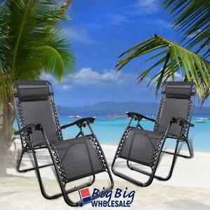 Patio-Zero-Gravity-Chairs-Recliner-Outdoor-Lounge-Beach-Texteline-Black-Steel-X2