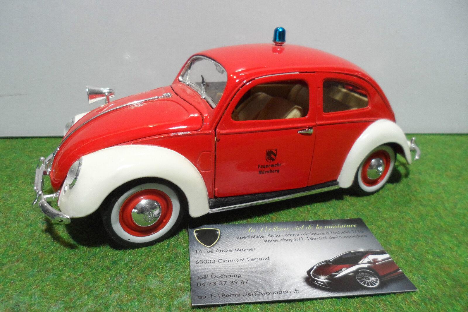 VOLKSWAGEN  COCCINELLE export sedan 1951 Pompier Feuerwehr au 1 18 MAISTO voiture  meilleur prix