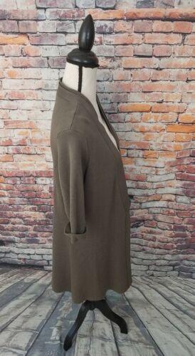 Open Brown Cardigan Silk Cotton Fisher S Sweater Front Eileen Sz Drape Women's Ct81Etwq