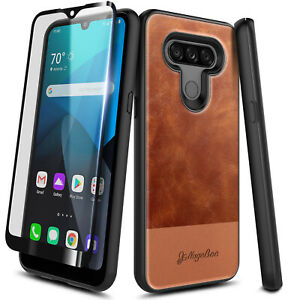 For LG Harmony 4/K40S Case Leather Phone Rugged Cover + Tempered Glass Protector