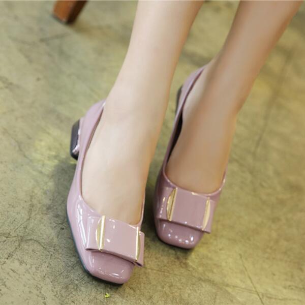 Ballerines mocassins chaussures pour femmes basses rose poli comme cuir