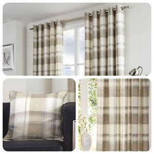 Fusion-BALMORAL-CHECK-Natural-Tartan-100-Cotton-Eyelet-Curtains-amp-Cushions