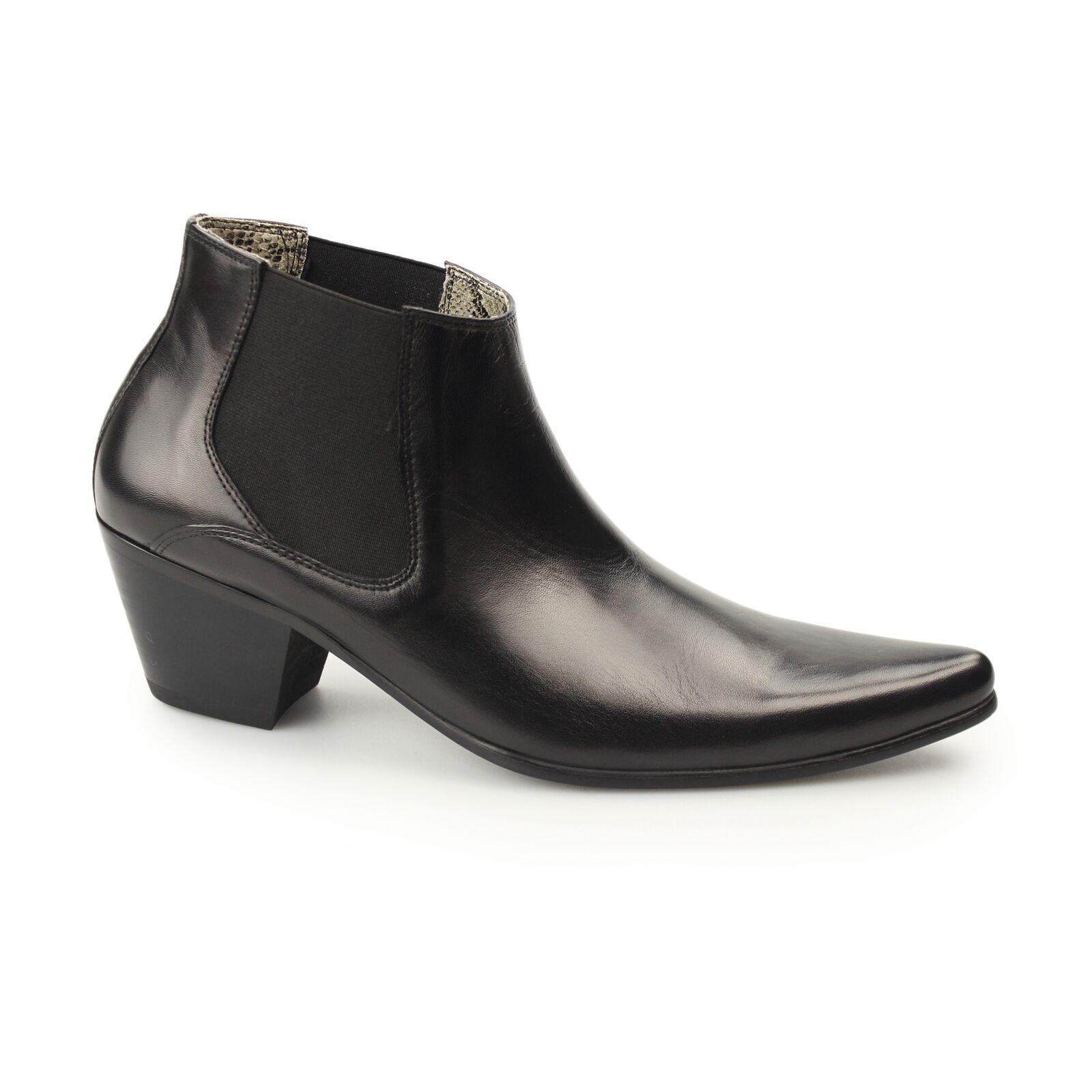 Club Cubano McCARTNEY Mens Leather Winklepicker Cuban Heel Spanish Boots Black