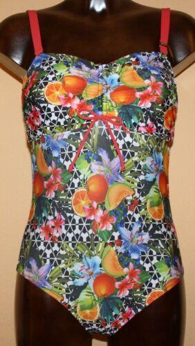 Marchi-Costume da bagno nero-bianco-rosso-Multi Tropic Fruits 36 38 40 42 46 Coppa B Nuovo