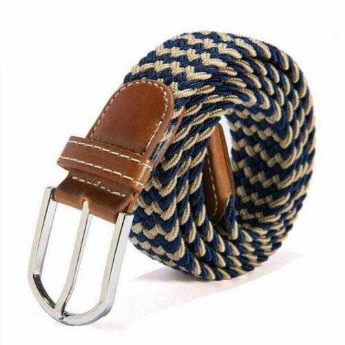 Men Women Colorful Elastic Stretchy Belt Leather End Silver Metal Buckle Belts