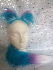 Mini Fox Ears And Tail Turquoise & Lilac Luxury Fake Fur Fox Fancy Dress Set