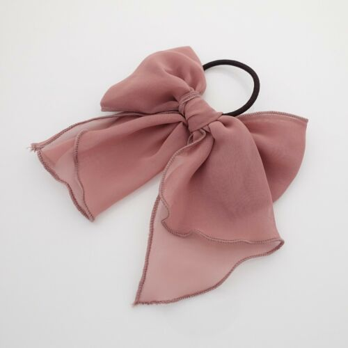 Chiffon solid color bow knot hair tie elastic ponytail holder for women