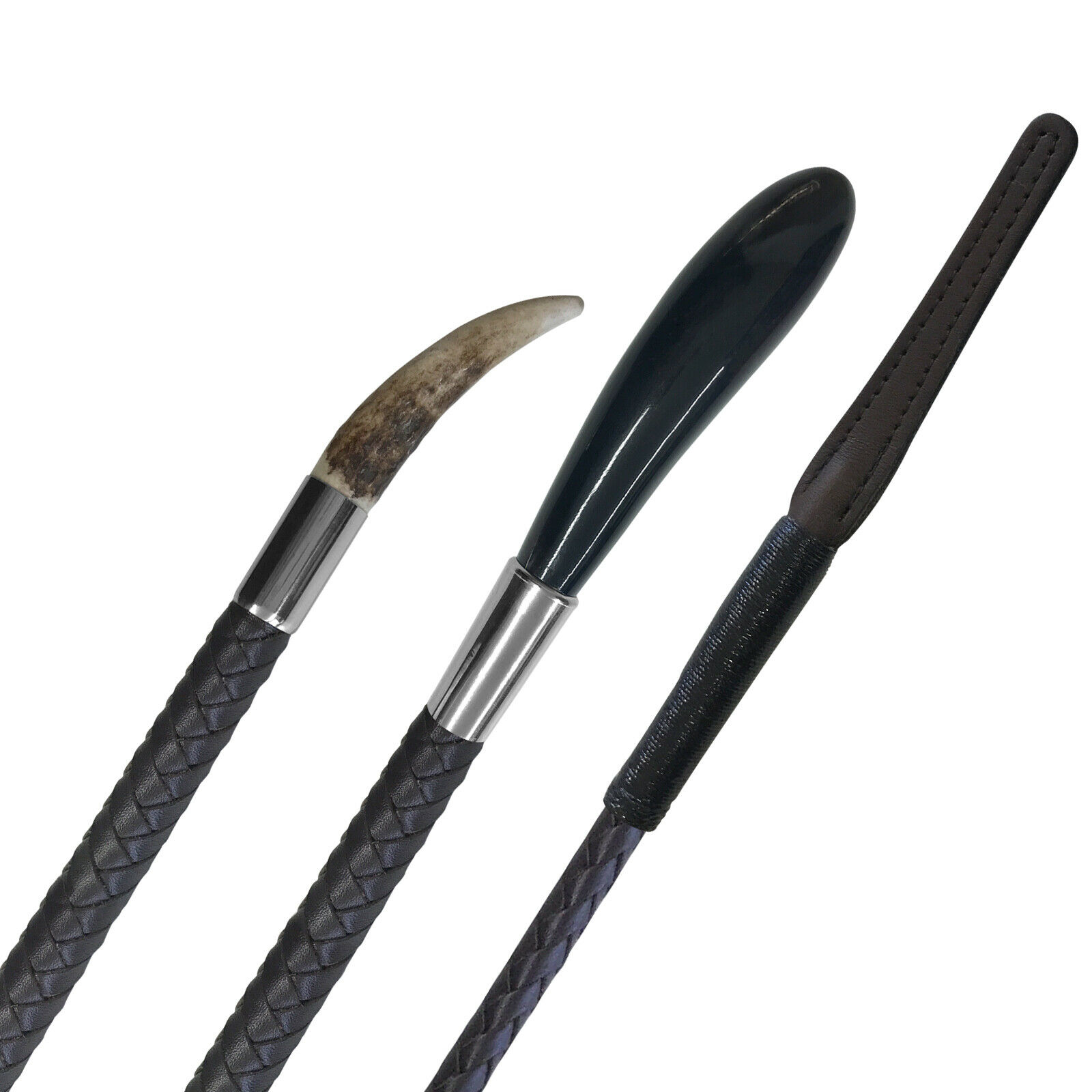 Stag Horn   Buffalo Tip Show Cane with Brown Plaited Leather Handle + Keeper
