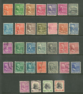 1938-US-Presidential-Prexie-Issue-SC-803-834-Set-of-32-well-picked-used-F-VF-XF8