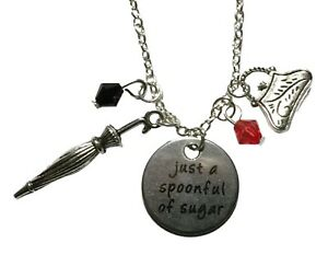 Mary Poppins Spoonful of Sugar Bottle With Spoon Metal Pendant Necklace
