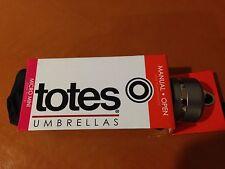 NEW Totes Kids Ladies Mens Signature Micro Manual Compact Umbrella Black 1 Size