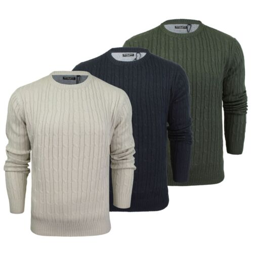 Mens Jumper Brave Soul Mao Cable Knit Crew Neck Sweater