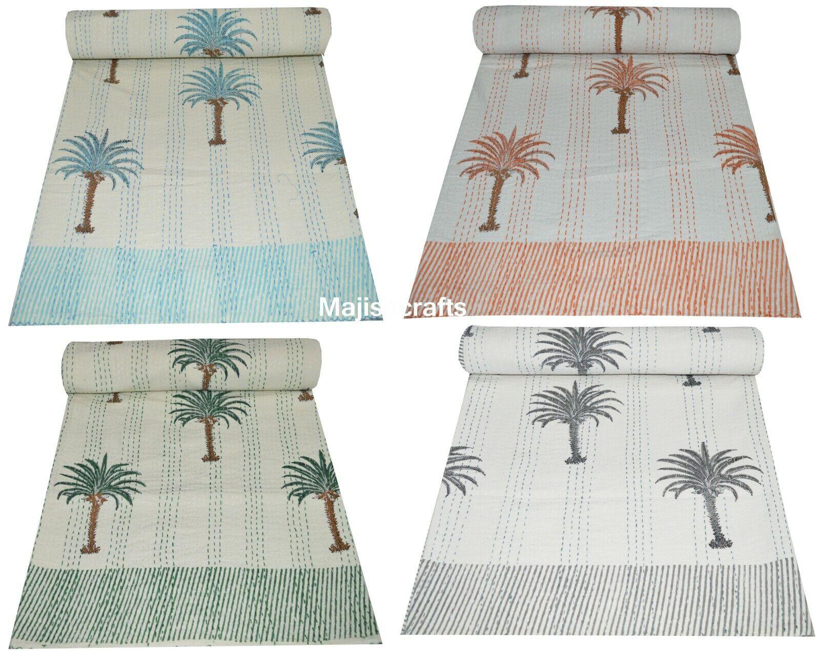 Kantha Quilt Bettspread Blanket Bettding Throw Handmade Palm Tree Königin Indian Kunst