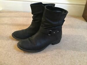 Black Leather Biker ankle boots size