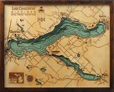 "LAKE CHARLEVOIX, MI 16"" x 20"" New, Laser-Cut 3-Dimen Wood Chart/Lake Art Map"