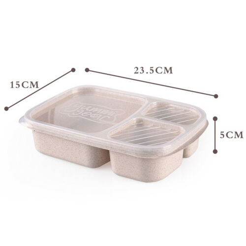 JT/_ 3 Compartments Lunch Box Food Storage Container for Kids Adults Picnic Rel