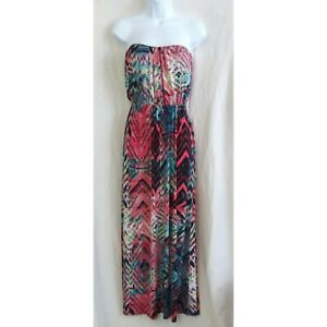 3826deec04a9 Image is loading TRIXXI-Tribal-Print-Multicolored-Strapless-Maxi-Dress-Size-
